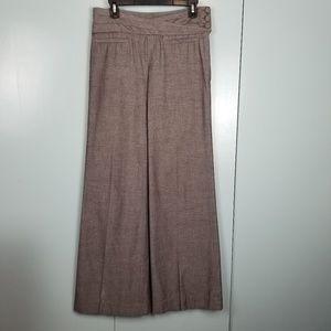 Anthropologie Elevenses brown wide leg pants sz 4